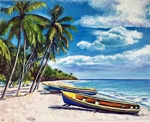 Tableaux Mer Et Plage : tableau peinture martinique mer cocotiers barques plage de martinique ~ Teatrodelosmanantiales.com Idées de Décoration