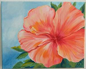 Coral Hibiscus Flower Painting Flower Painting Gift Hibiscus