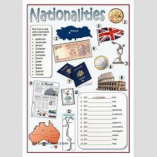 Nationalities  Esl Worksheets Of The Day  Educacion Ingles, Nacionalidades En Ingles, Numeros