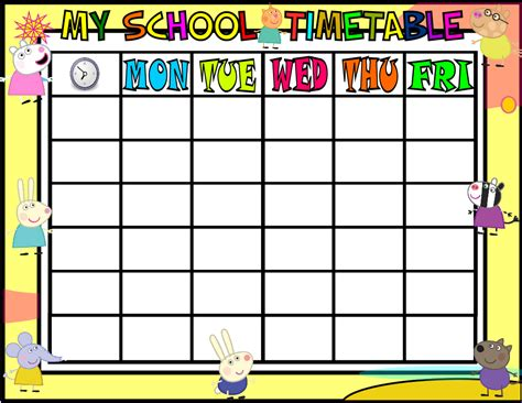 school timetable peppa pig and minions attention worksheets