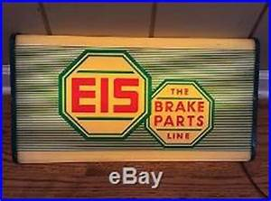 VINTAGE 1950'sRARE EIS BRAKE PARTS LIGHTED GAS OIL SIGN