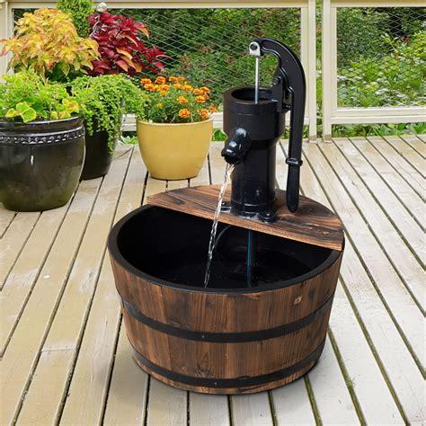 outsunny barrel water fountain garden decorative water