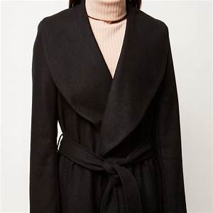 lyst river island black longline faux fur collar robe With robe river island