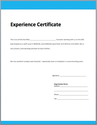 experience certificate formats   printable word