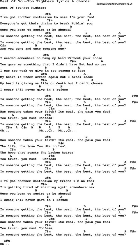 Best Of You Lyrics Song Lyrics For Best Of You Foo Fighters With Chords
