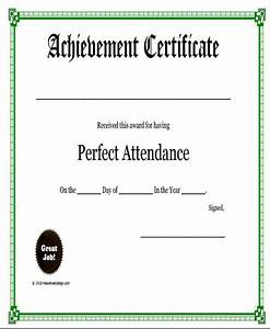 Perfect Attendance Certificate Template Attendance Award Certificate Template
