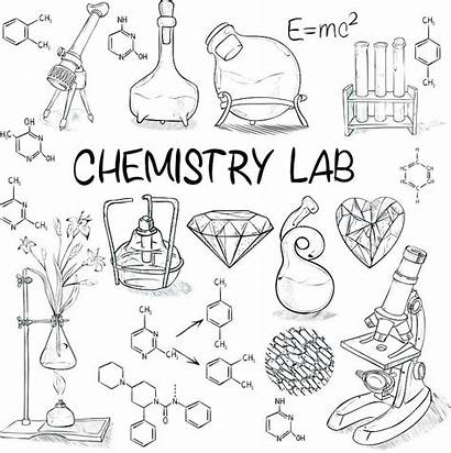 Chemistry Science Lab Sketch Equipment Coloring Drawing