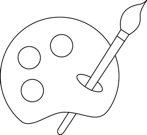 dessin pot de peinture pinceau coloriage une palette de peinture et un pinceau dory fr coloriages