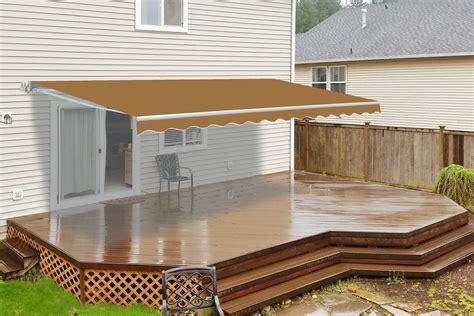 motorized retractable patio awning  feet sand aleko
