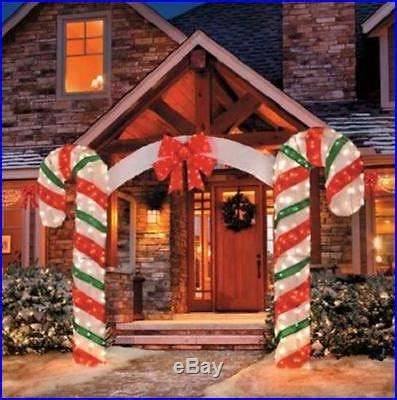 sale  foot lighted outdoor christmas candy cane arch yard
