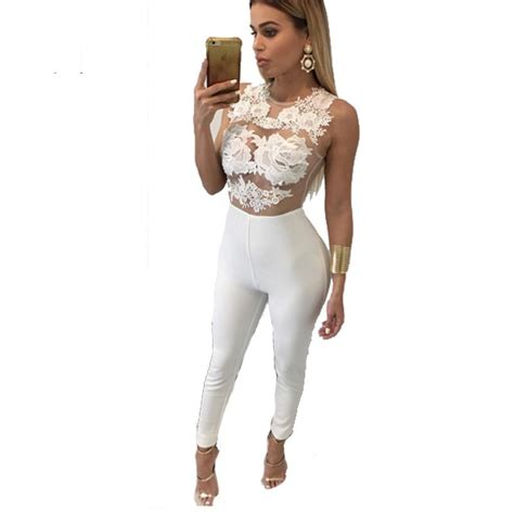 lace jumpsuit white sleeveless mess fitted white lace jumpsuit