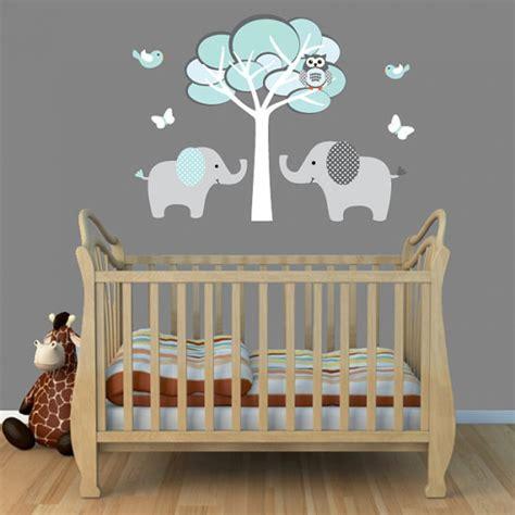 interior creative baby nursery room decoration light grey turquoise elephant wall murals