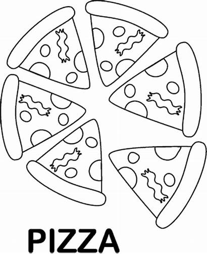 Pizza Coloring Pages Printable Foods Preschool Sheet