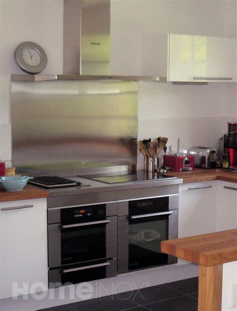 inox cuisine crédence inox et plan de cuisson inox