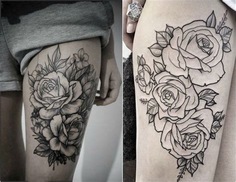 tatouage cuisse femme rose