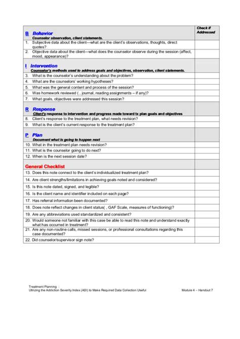 birp progress note checklist printable