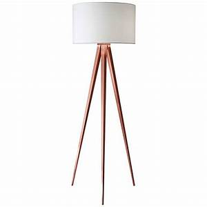Director brushed copper tripod floor lamp 13a53 lamps for Brushed copper floor lamp
