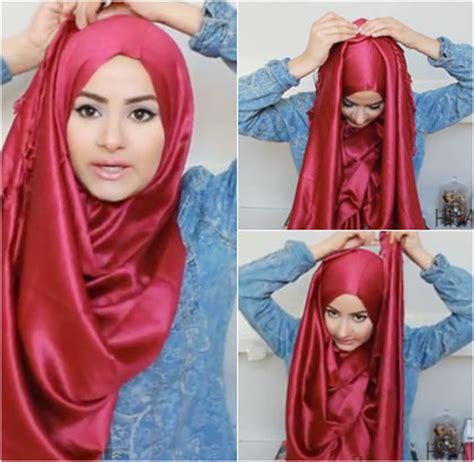 tutorial jilbab  material satin  mudah dicoba