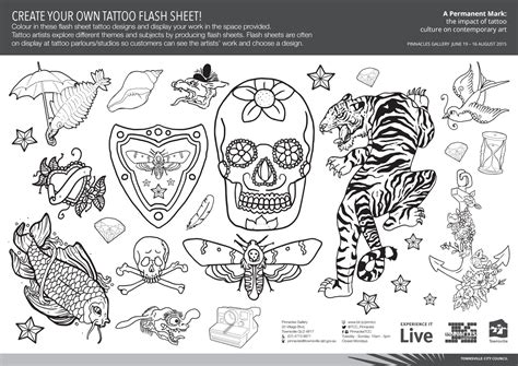 children s activity tattoo flash sheet by shane