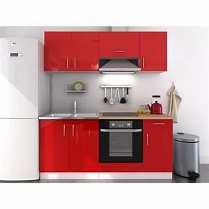 Buffet de cuisine rouge laque for Petite cuisine équipée avec meuble de salle a manger complete