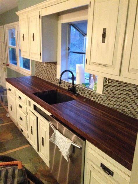 built  pair  black walnut butcher block countertops