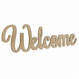15, U0026quot, Decorative, Wooden, Welcome, Sign, Natural, Ab2345