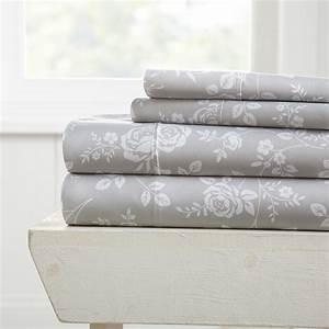 Merit, Linens, Premium, Ultra, Soft, Rose, Gray, Pattern, 4, Piece