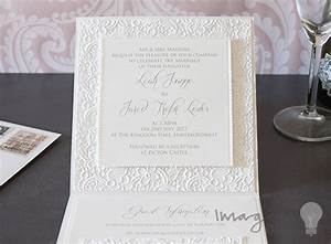 how to make lace embossed pocket invitation with pearls With lace pocket wedding invitations uk