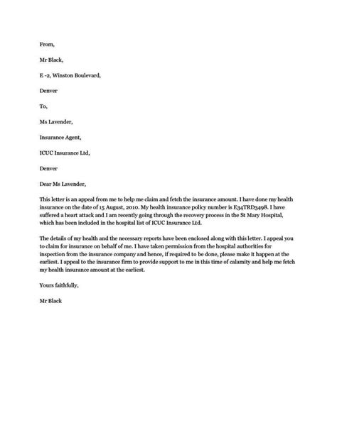 write appeal letter  health insurance company