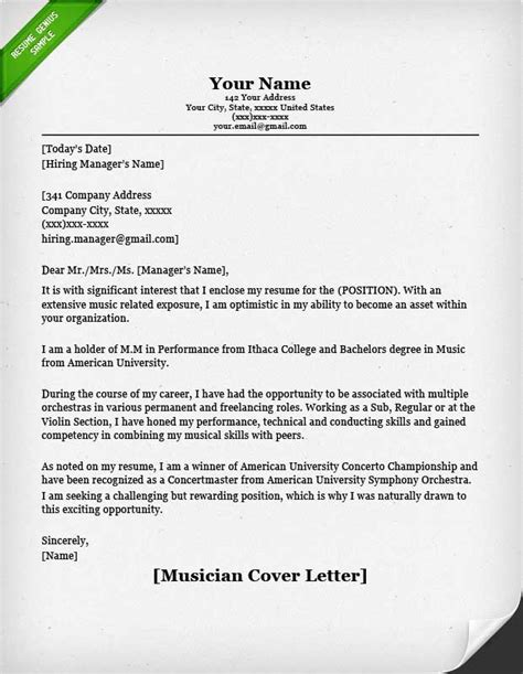 Musicians Resume Handbook by Musician Cover Letter Sle Resume Genius