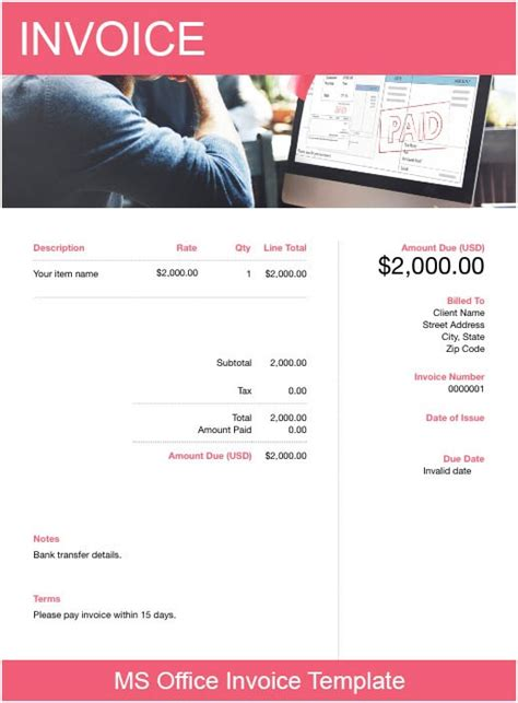 ms office invoice template   send  minutes