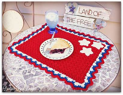 Crochet Patriotic Pattern Placemat Patterns Summertime Ryan