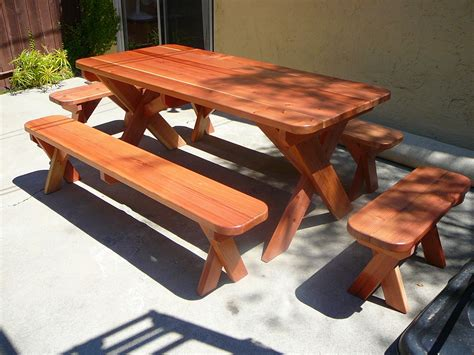 picnic table bench plans ft redwood picnic table