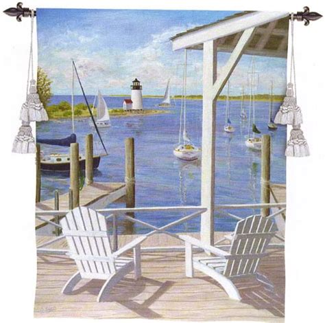 lighthouse view nautical tapestry wall hanging waterfront terrace h53 quot w40 quot