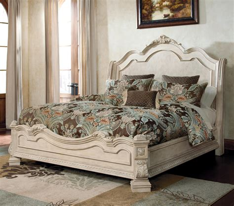 ortanique traditional queen bed  sleigh headboard