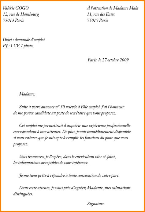 lettre de motivation secr 233 taire exemple lettre de motivation emploi jaoloron