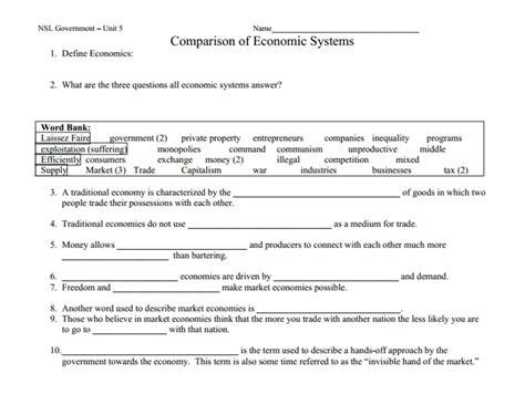 All Worksheets » Economics Worksheets For High School  Printable Worksheets Guide For Children