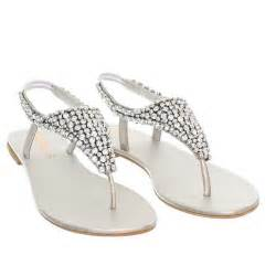 silver shoes for wedding womens flat diamante sparkly toe post silver wedding sandals size 3 8