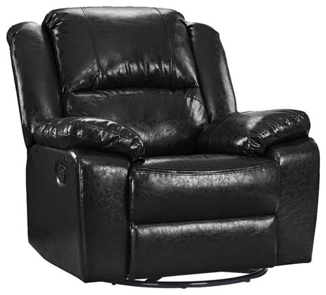 Black Oversized Recliner by Oversize Ultra Comfortable Bonded Leather Rocker And