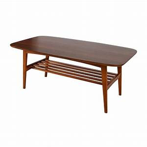 48 off brown wood coffee table with shelf tables With coffee table with shelf underneath