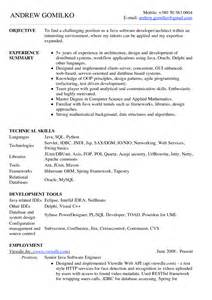 Java Resume Sle For Fresher by Sle Java Resumes 28 Images Designer Resume Hawaii Sales Designer Lewesmr Ups Resume