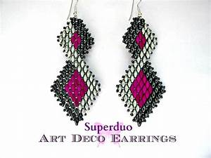 Tutorial Superduo Earrings Peyote Art Deco Instant Pattern