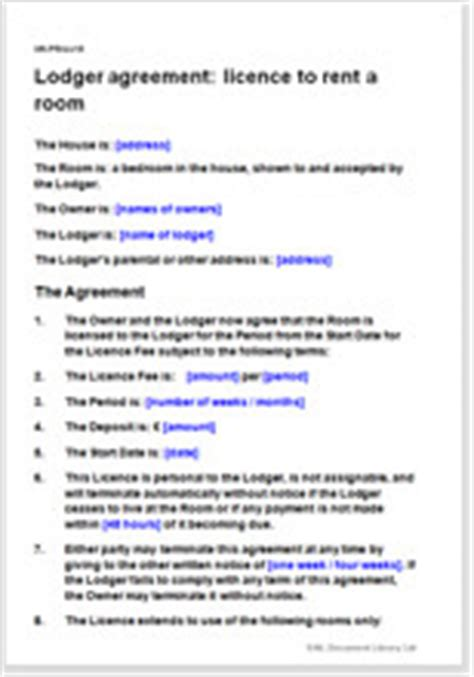 lodger agreement rent  spare room