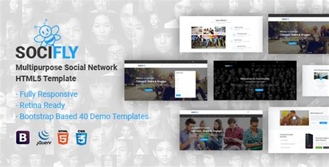 social networking templates php socifly multipurpose social network html5 template