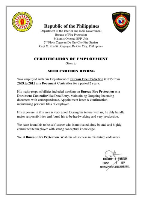 certification of documents bfp certification document controller