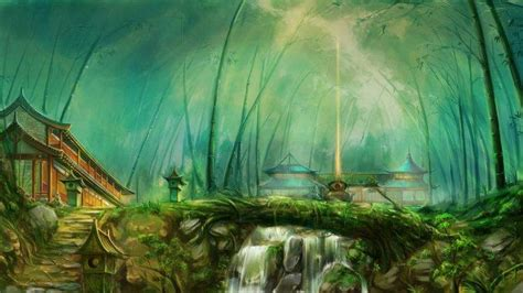 fantasy art forest temple river wallpapers hd desktop