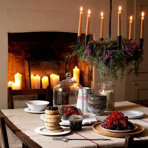 rustic new year s dining room with candle chandelier