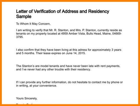 proof of address letter residency verification letter letter of recommendation