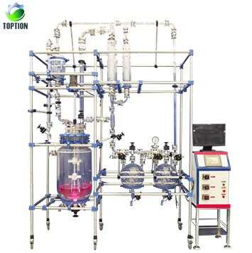 china plc automatic control double layer glass reactor