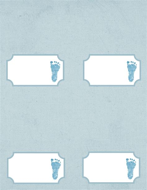 Baby Shower Place Cards Template by Baby Footprint Template Cliparts Co